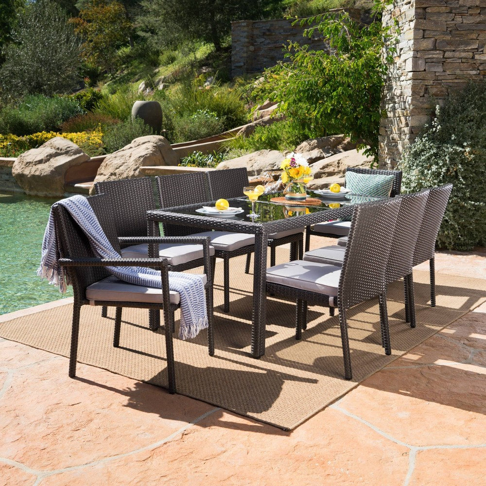 San Pico 9pc Wicker and Tempered Glass Dining Set - Gray/Silver - Christopher Knight Home