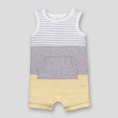 Lamaze Baby Boys' Organic Cotton Colorblocked Stripe Romper - Grey Newborn