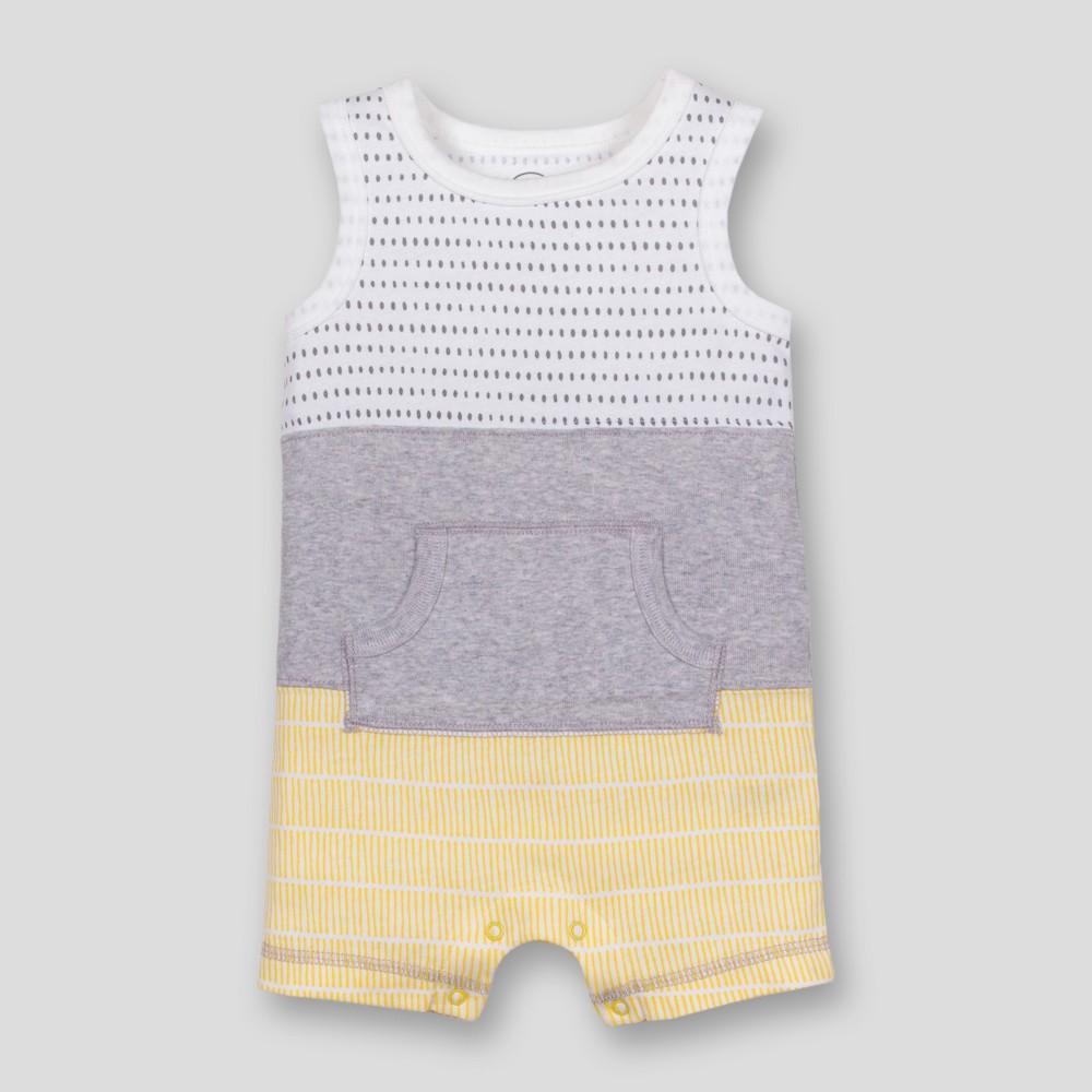 Lamaze Baby Boys' Organic Cotton Colorblocked Stripe Romper - Grey 12M, Gray