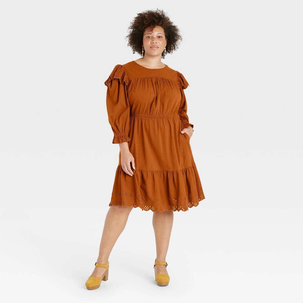 70s Plus Size Costumes | Hippie, Disco Womens Plus Size Puff Long Sleeve Ruffle Dress - Universal Thread Rust 4X Red $29.99 AT vintagedancer.com