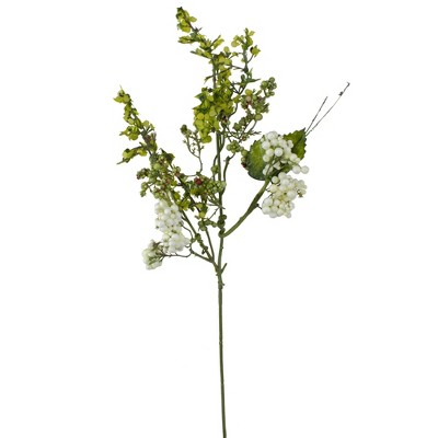 """Darice 14"""" White and Green Ivory Berry Artificial Spring Pick"""