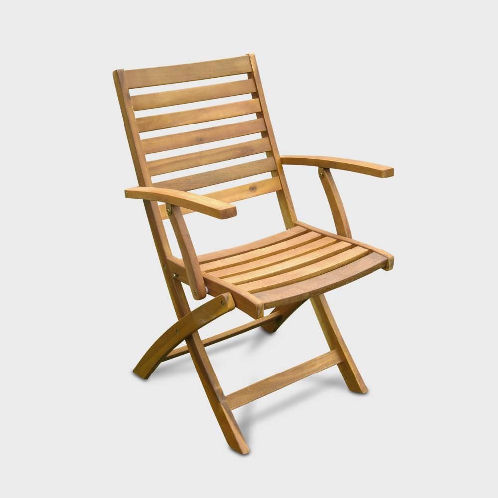 2pk Acacia Wood Folding Ladder Back Patio Chair - Brown - International Caravan
