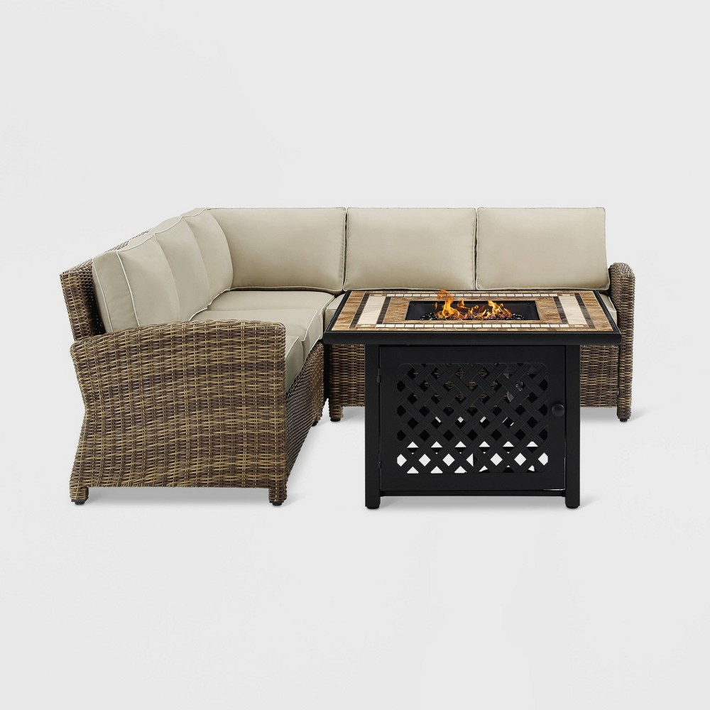 4pc Bradenton Outdoor Wicker Seating Set with Sand Cushions Brown - Crosley
