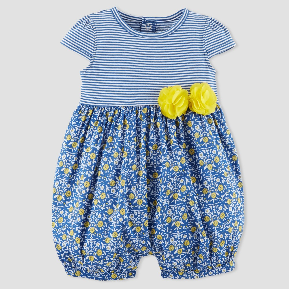 Baby Girls' Stripe Floral Romper - Just One You made by carter's Blue 24M
