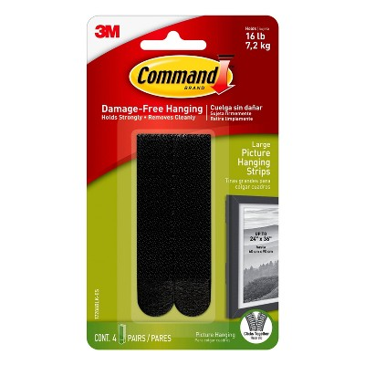 Command 4 Sets Large Sized Picture Hanging Strips Black