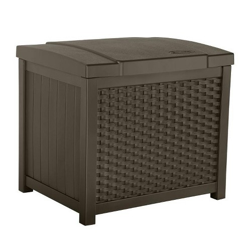 Suncast 22 Gallon Wicker Resin Outdoor Storage Deck Box Seat Java Ssw900 Target