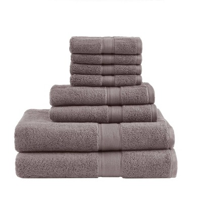 8pc Bath Towel Set Light Brown