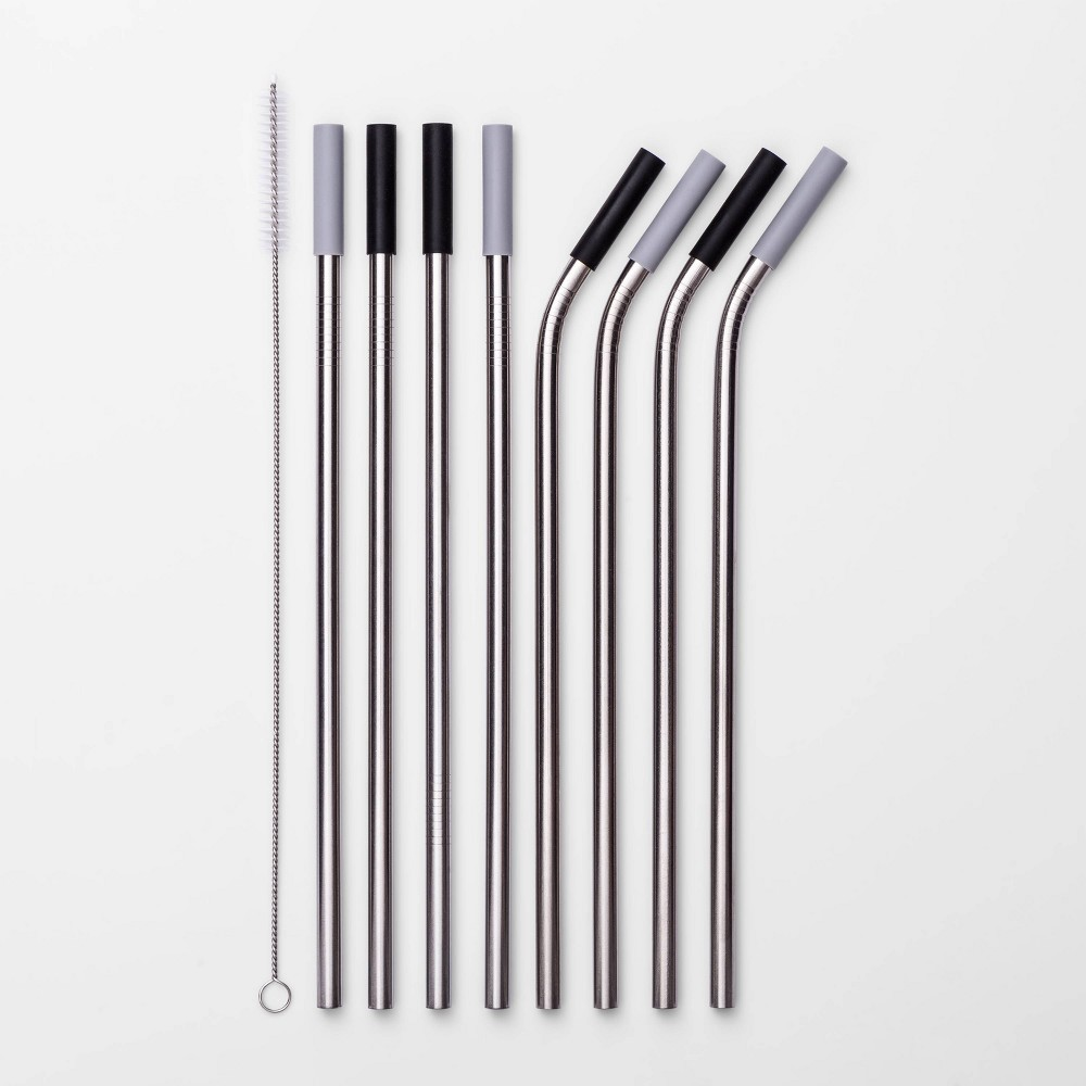 Image of 9pc Stainless Steel Straws with Cleaning Brush - Room Essentials , Silver