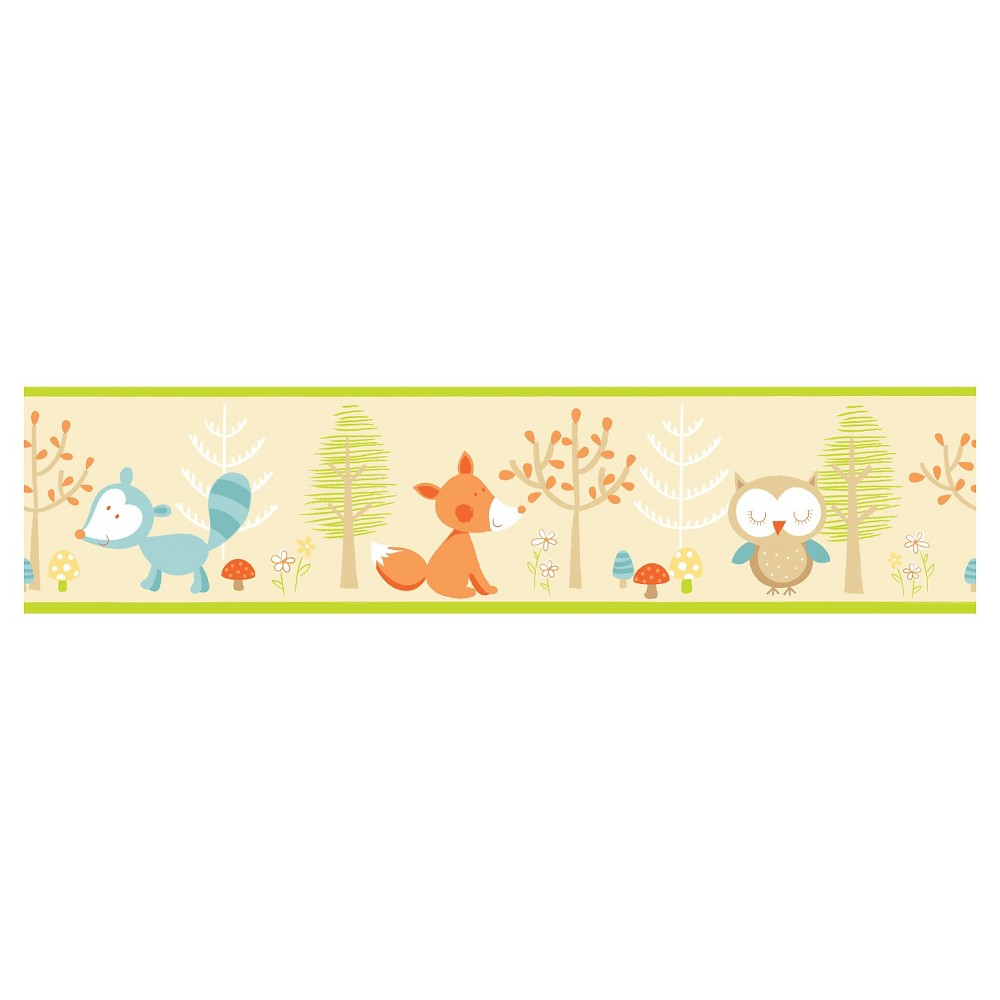 Fun4Walls Forest Friends Multi Peel and Stick Border Set of 2 - Brown/Green