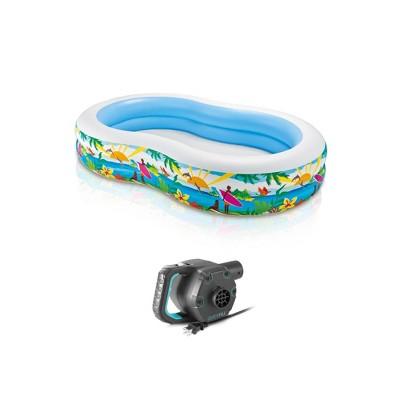 """Intex 8.5'x5.25'x18"""" Seaside Paradise Inflatable Kiddie Pool & Electric Air Pump"""