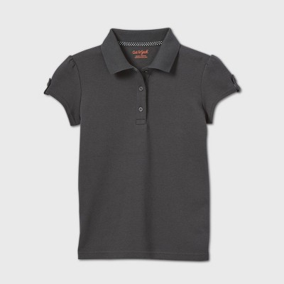 Girls' Short Sleeve Interlock Uniform Polo Shirt - Cat & Jack™ Gray