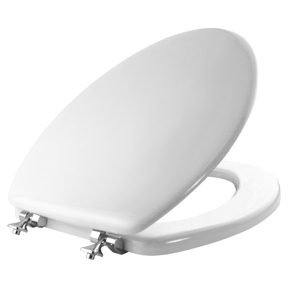 Image of Elongated Molded Wood Toilet Seat with Chrome Hinge and Seat Fastening System White - Mayfair