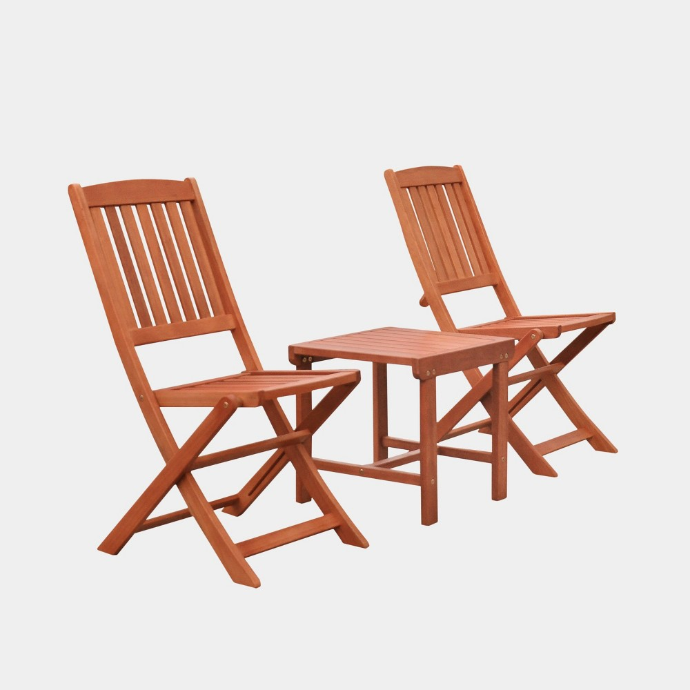 Image of Malibu 3pc Wood Outdoor Patio Dining Set with Folding Chair - Tan - Vifah