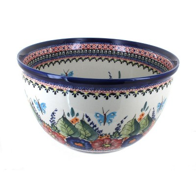 Blue Rose Polish Pottery Floral Butterfly Large Mixing Bowl