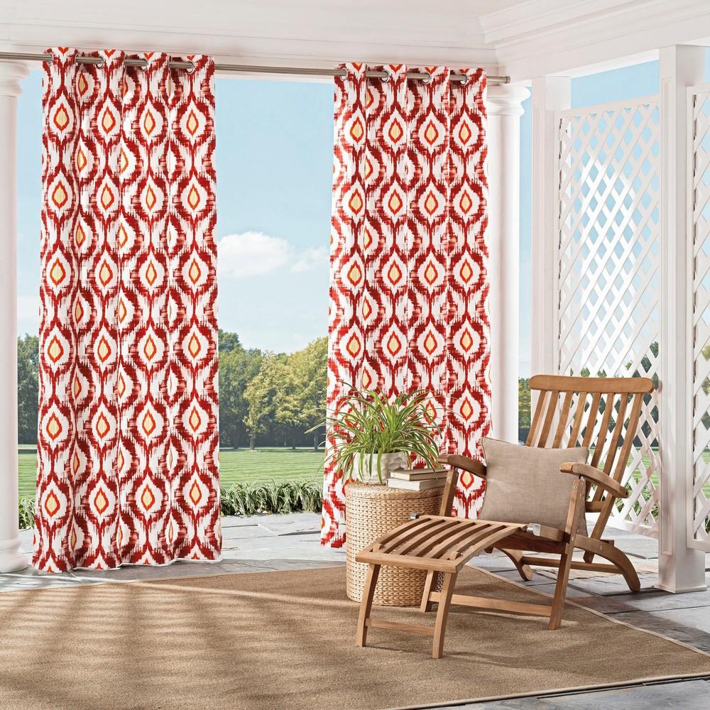"Image of ""Barbados Indoor/Outdoor Geometric Curtain Panel Orange (52""""x95"""") - Parasol, Orange Red"""