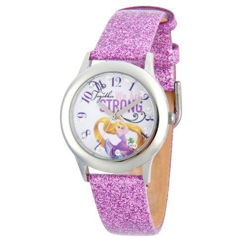 Girls' Disney Princess Rapunzel Stainless Steel Glitz Watch - Purple - image 1 of 4