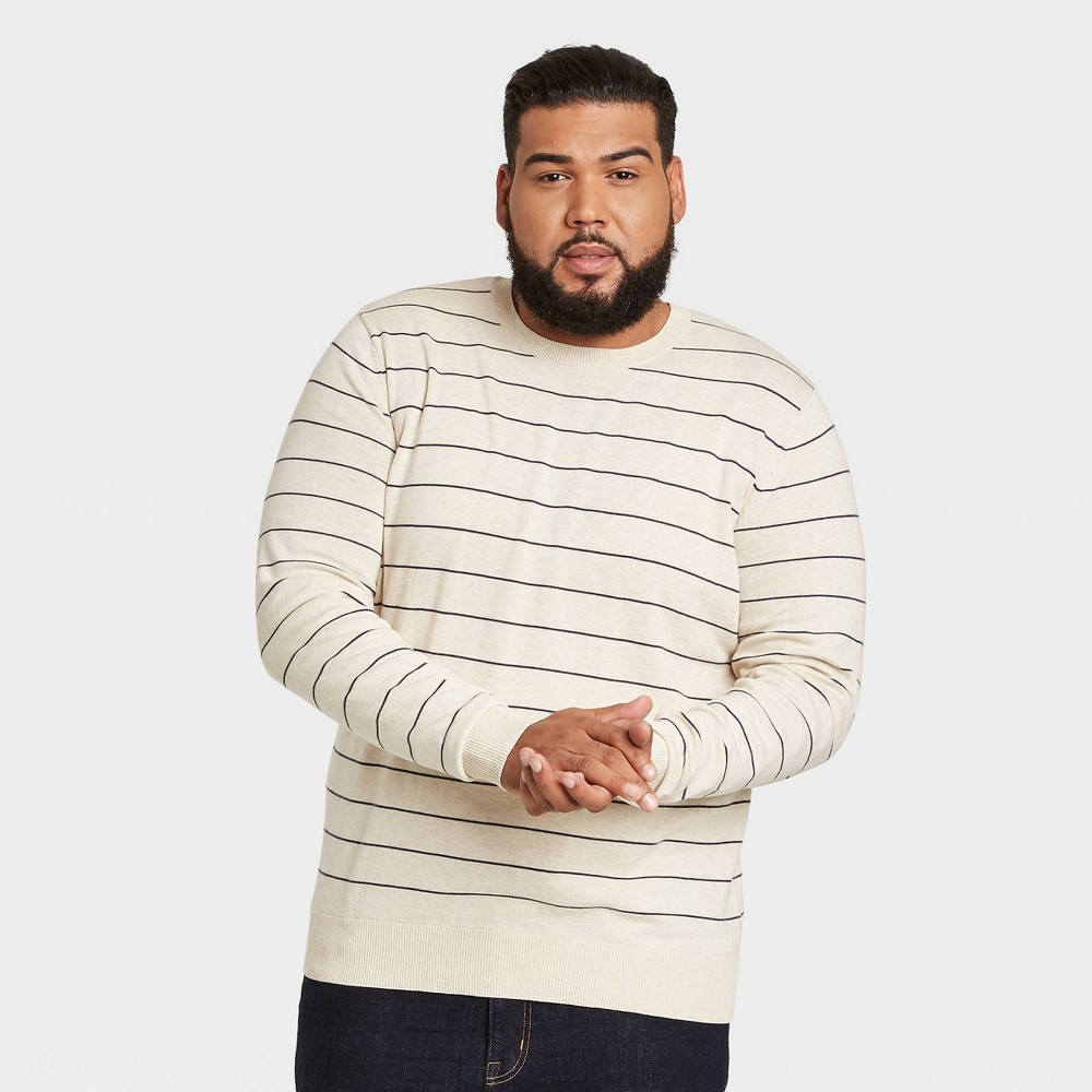 Men 39 S Tall Striped Standard Fit Crew Neck Pullover Sweater Goodfellow 38 Co 8482 Navy Cream Mt