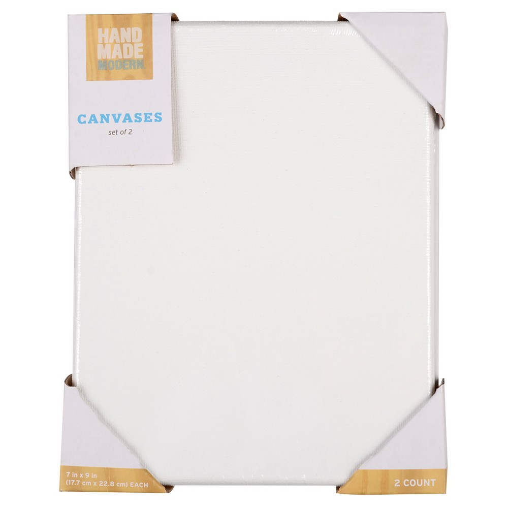 Hand Made Modern Canvas Set, 2ct, 7 x 9 - White