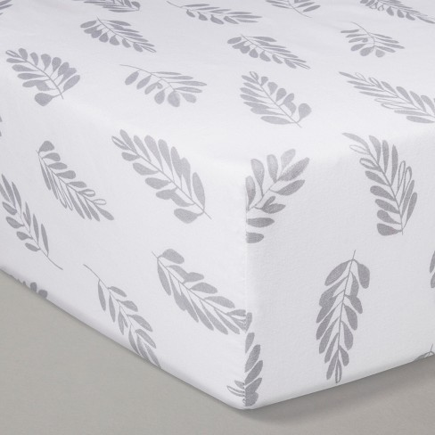 Crib Fitted Sheet - Cloud Island™ White/Gray - image 1 of 2