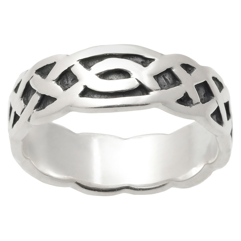 Women's Journee Collection Oxidized Detail Braided Celtic Band in Sterling Silver - Silver, 8