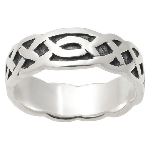 Women's Journee Collection Oxidized Detail Braided Celtic Band in Sterling Silver - Silver - image 1 of 3