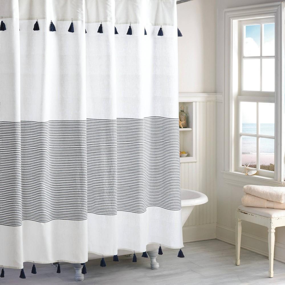 Image of Panama Stripe Shower Curtain Navy - Destinations, Blue