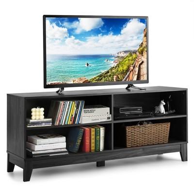 Costway 58'' Modern Wood TV Stand Console Storage Entertainment Media Center Walnut Black