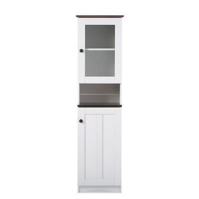 Lauren TwoTone and Buffet and Hutch Kitchen Cabinet White/Dark Brown - Baxton Studio