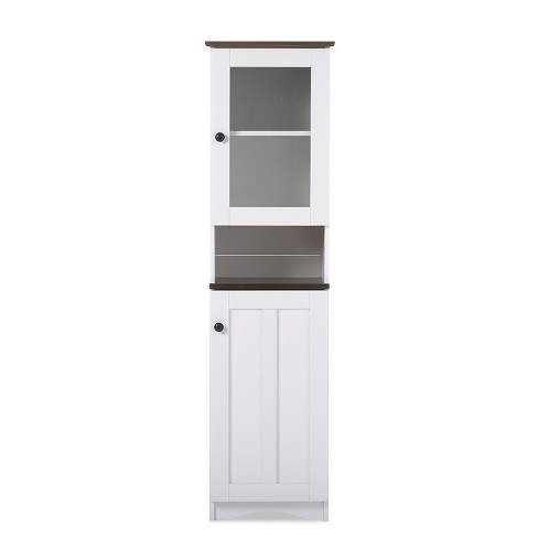 Lauren TwoTone and Buffet and Hutch Kitchen Cabinet White/Dark Brown - Baxton Studio - image 1 of 5