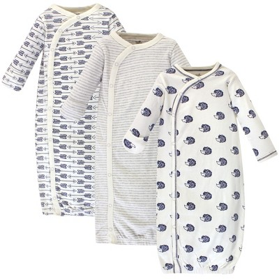 Touched by Nature Baby Organic Cotton Kimono Long-Sleeve Gowns 3pk