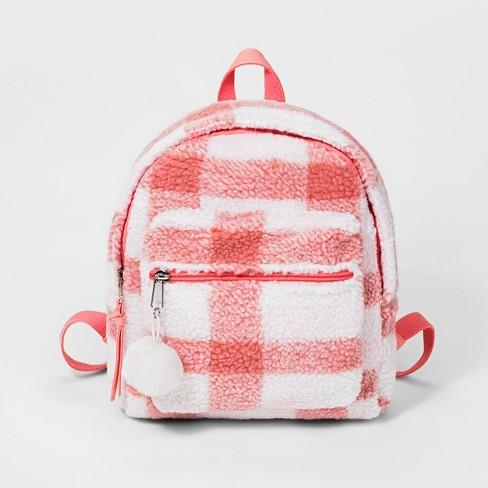 Girls' Plaid Sherpa Mini Backpack - Cat & Jack™ Pink - image 1 of 3
