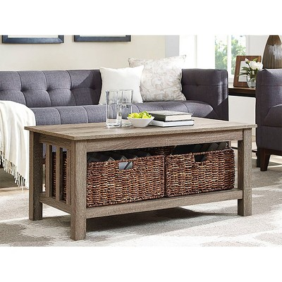 40  Wood Storage Coffee Table with Totes - Driftwood - Saracina Home