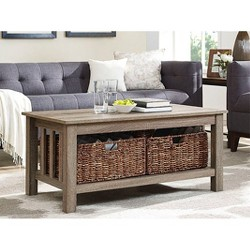 "40"" Wood Storage Coffee Table With Totes - Saracina Home"