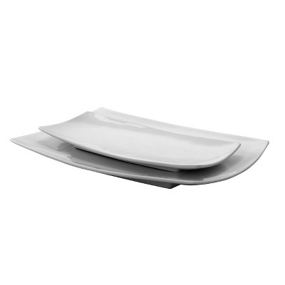 Gibson Home 2pc Ceramic Gracious Serving Platter Set