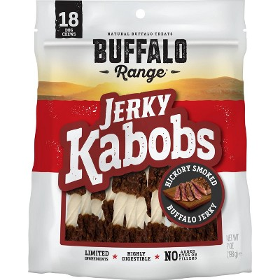 Buffalo Range Natural Jerky Kabobs Rawhide Chews for Dogs - 18ct