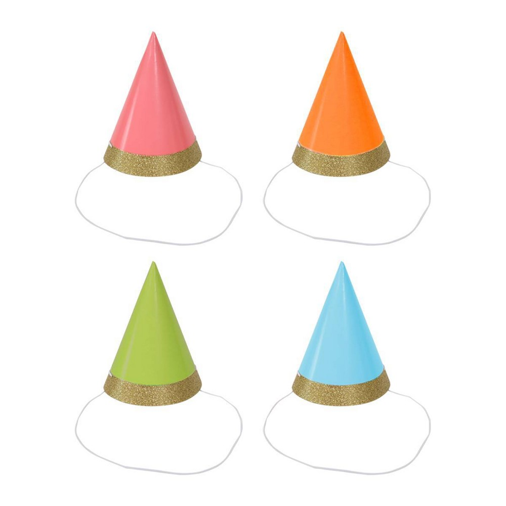 Image of 10ct Champagne Glitter Party Hat - Spritz