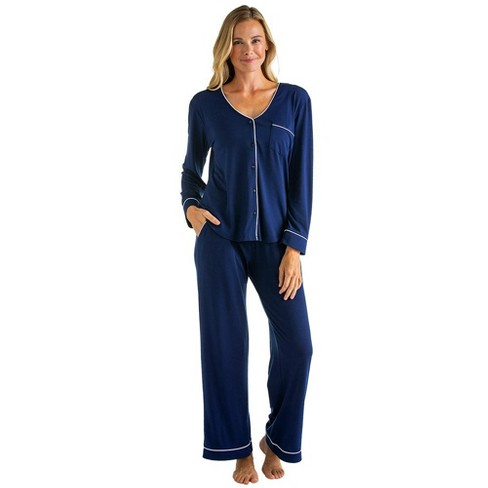 Softies Women's Ankle PJ Set with Contrast Piping - image 1 of 4