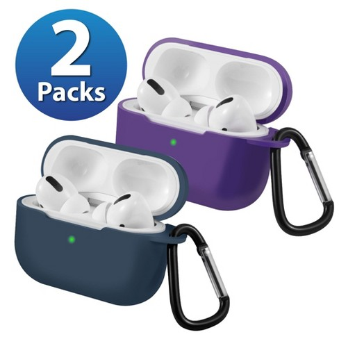 2-Pack For AirPods Pro Case [Midnight Blue & Purple] Ultra Thin Silicone Protective Cover with Keychain For Apple AirPods Pro 2019 (3rd Gen) by Insten - image 1 of 1