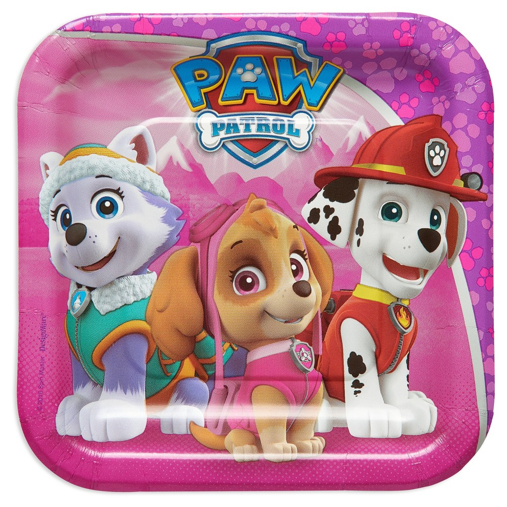 Paw Patrol Girl 7 Paper Plate - 8ct