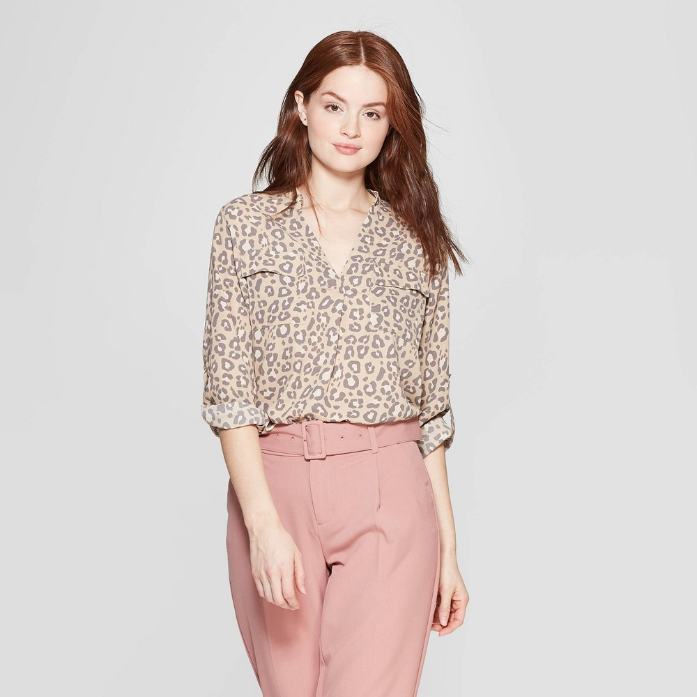 Women's Leopard Print Long Sleeve V-Neck Utility Popover Shirt - A New Day Tan XL, Brown