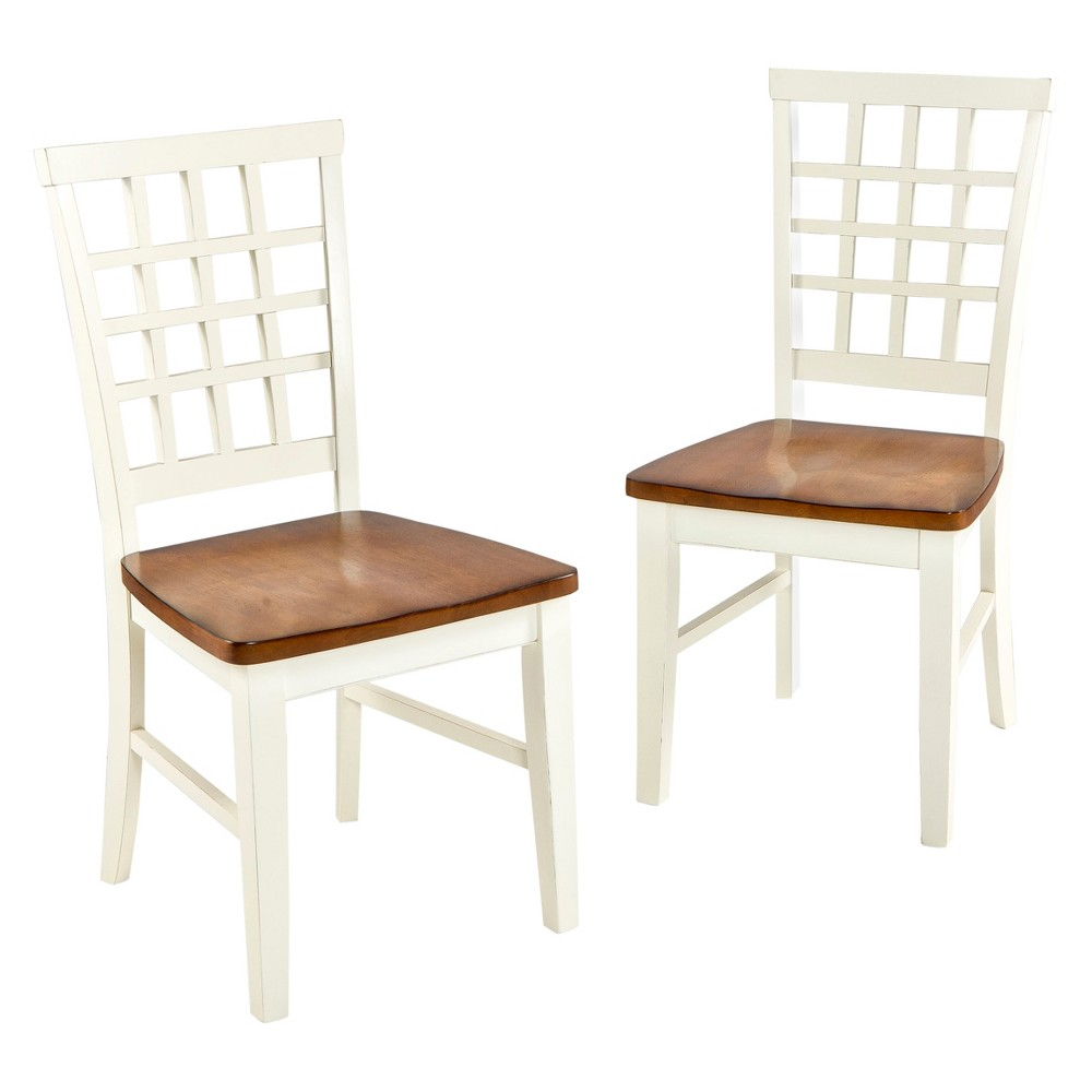 Image of Arlington Lattice Back Side Chair White and Java Finish (Set of 2) - Intercon