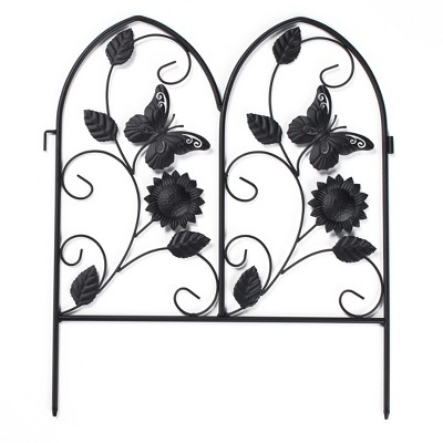 Lakeside Decorative Metal Butterfly Garden Border Fence for Landscaping