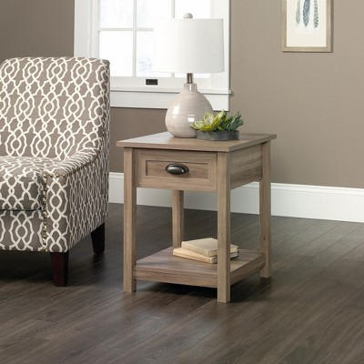 County Line Side Table, Nightstand with Drawer & Open Shelf - Salt Oak