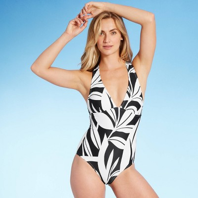 Women's Lace-Up Back Banana Tree Classic One Piece Swimsuit - Kona Sol™ Gold