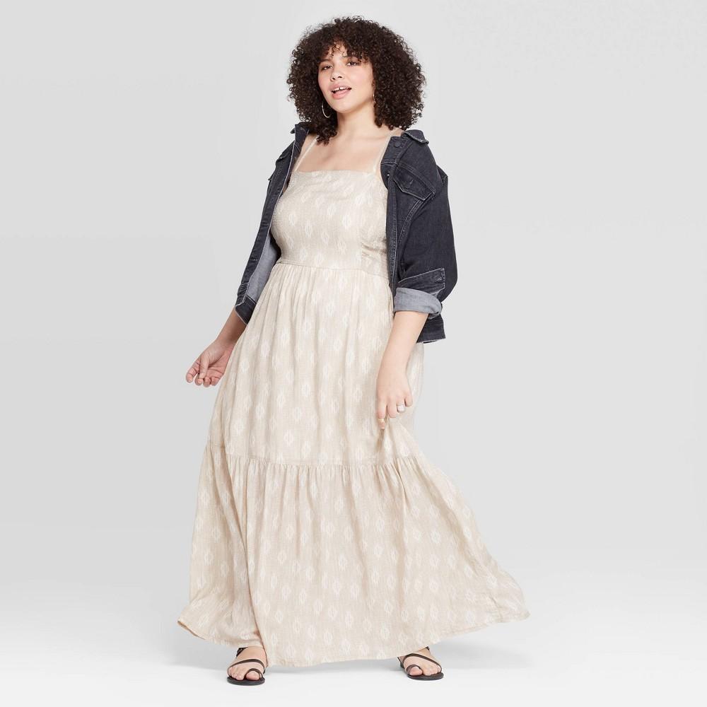 Low Price Women Plus Size Sleeveless Square Neck Tiered Maxi Dress Universal Thread White 4X