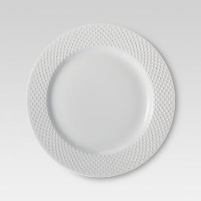 Porcelain 4pc Dinnerware Set White Beaded Rim - Threshold™
