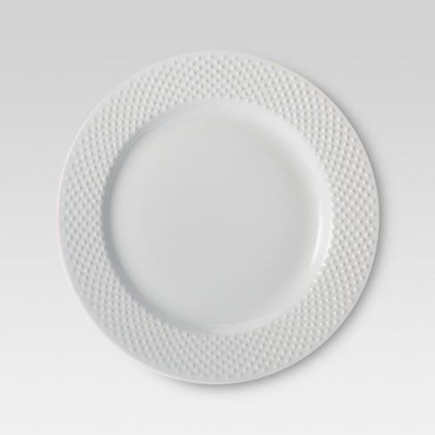 """11"""" 4pk Porcelain All Over Beaded Dinner Plates White - Threshold™ - image 1 of 1"""