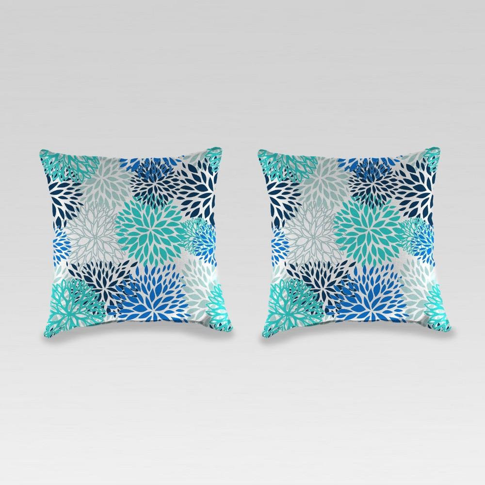Outdoor Set of 2 Accessory Toss Pillows - Blue Burst - Jordan Manufacturing