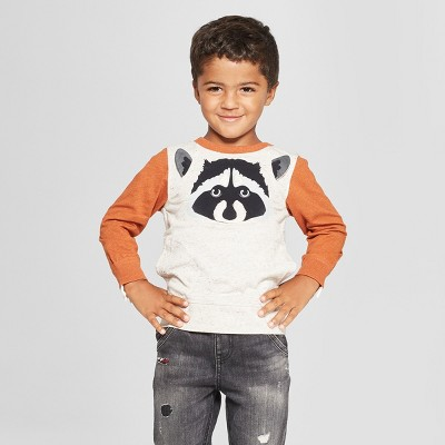 Genuine Kids® from Oshkosh Toddler Boys' Raccoon Critter Face Long Sleeve Crew Sweatshirt - Rust/Cream 12M