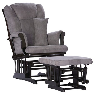 Stork Craft Tuscany Black Glider and Ottoman - Gray